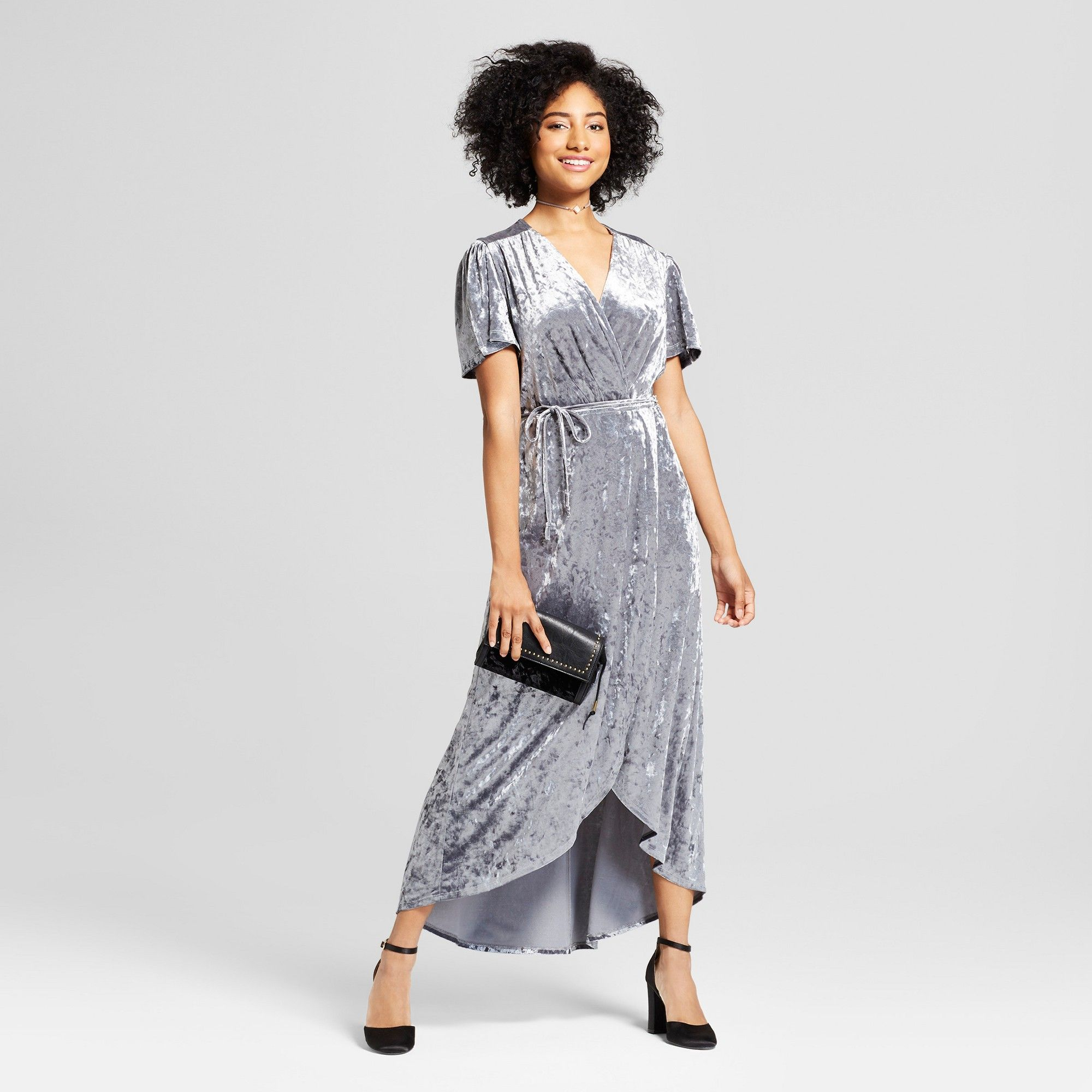 96223bbf5754bc Women s Crushed Velvet Short Sleeve Maxi Dress - Xhilaration Silver ...