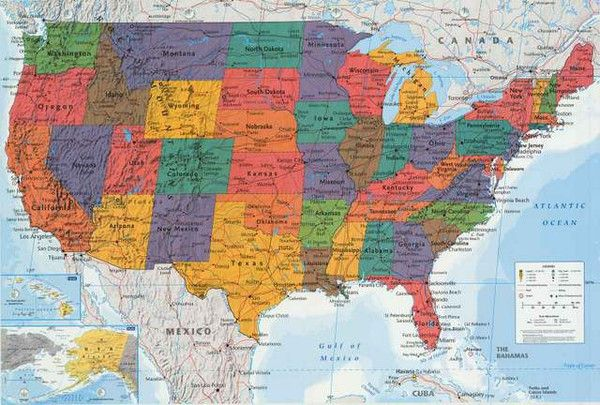 a great united states of america map poster includes state capitals major cities