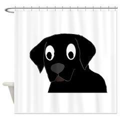 labrador retriever black cartoon Shower Curtain > BLACK LAB > Paw Prints
