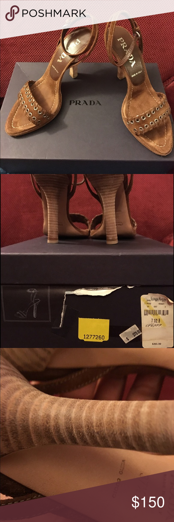 "Prada These are brown suede genuine PRADA high-heel sandals size 38 and fits 7.5 (these ran small). This have 4"" stacked-wood heels and ankle strap; wore these 3-4 times and they are in excellent condition. Original box is included price is firm Prada Shoes Sandals"