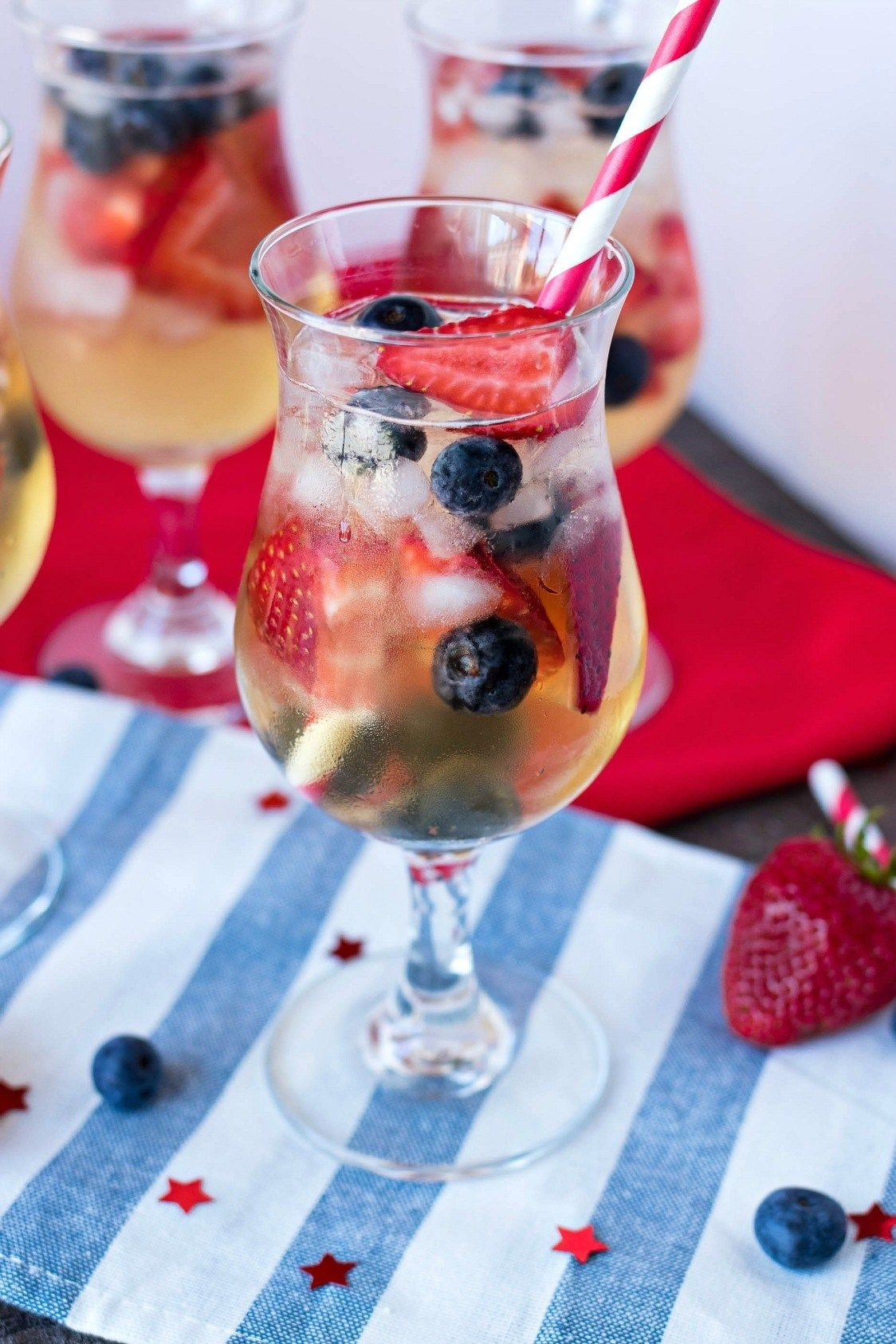 Red White Blue Sangria A Refreshing White Sangria Made With Dry White Wine Brandy And Tons Of S Cocktail Recipes Easy Party Punch Recipes Punch Recipes