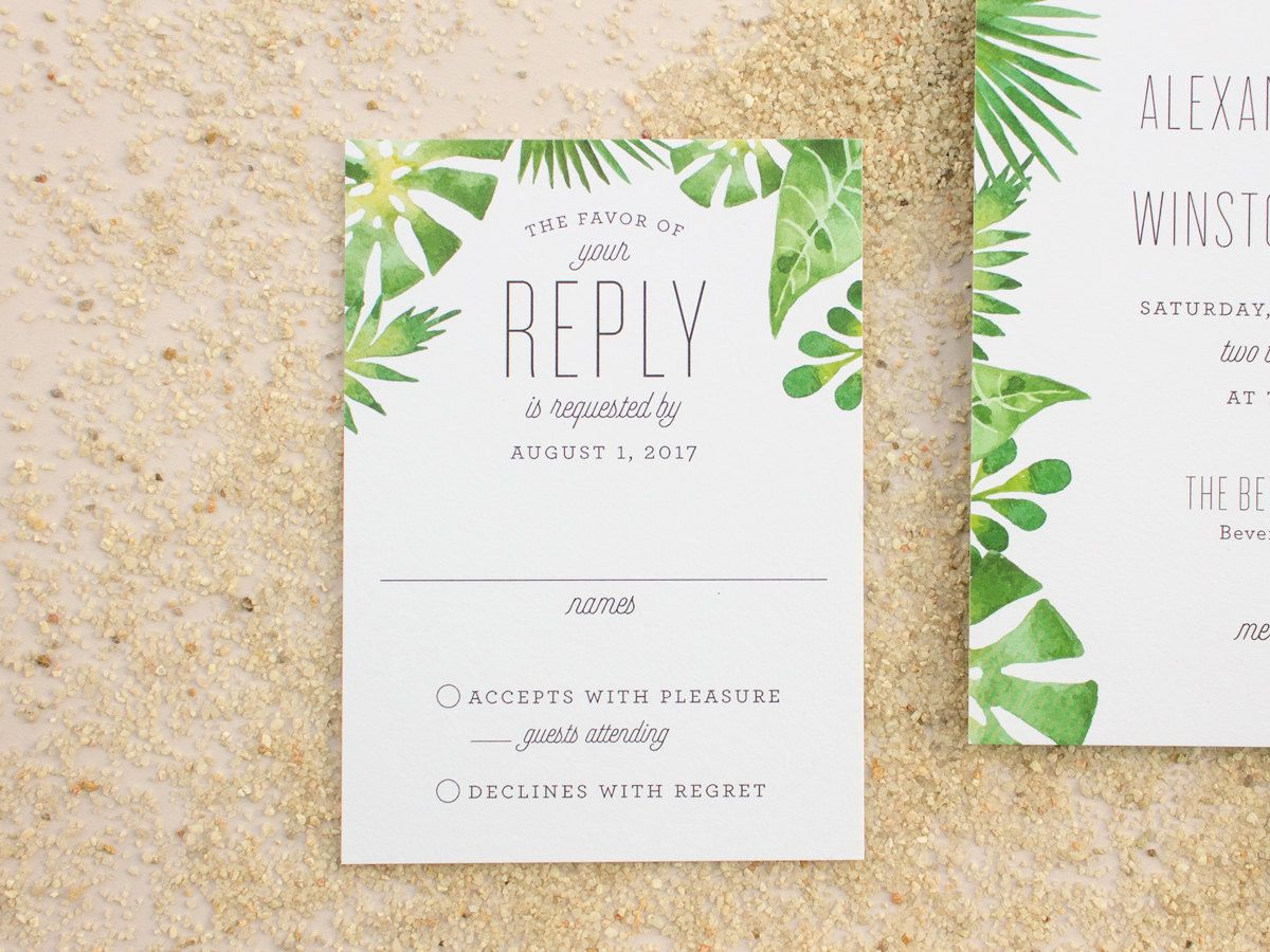 These beach wedding invitations feature a watercolor palm frond ...