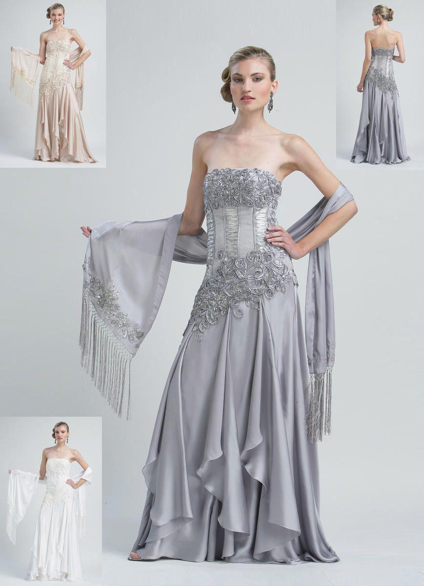 Sue Wong N2221 White Wedding Dress. Strapless Embellished Lace ...