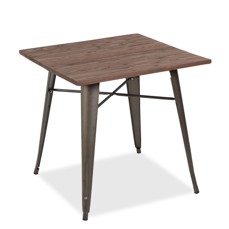 Mesa de comedor cuadrada. Mezcla de estilos rústico e industrial ...
