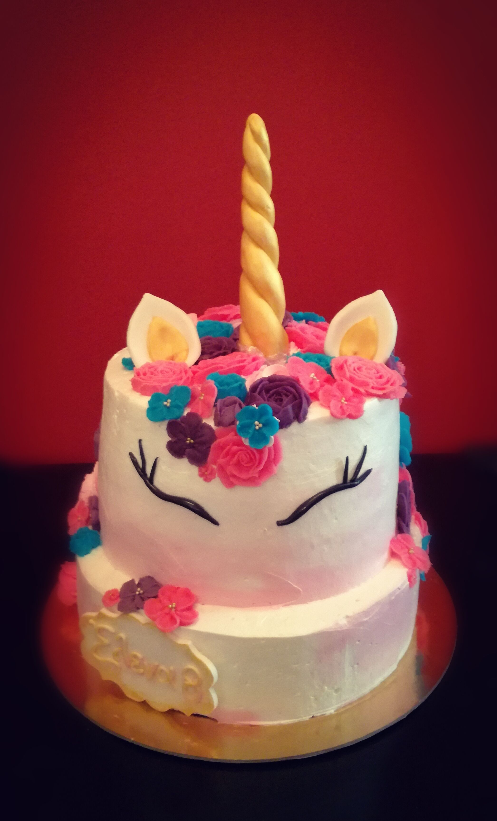 Unicorn Tiered Birthday Cake One Special Delivery Buttercream