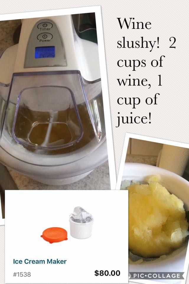Ice Cream Maker Makes A Wine Slushy Pampered Chef Ice Cream Maker Recipe Pampered Chef Ice Cream Recipe Ice Cream Maker