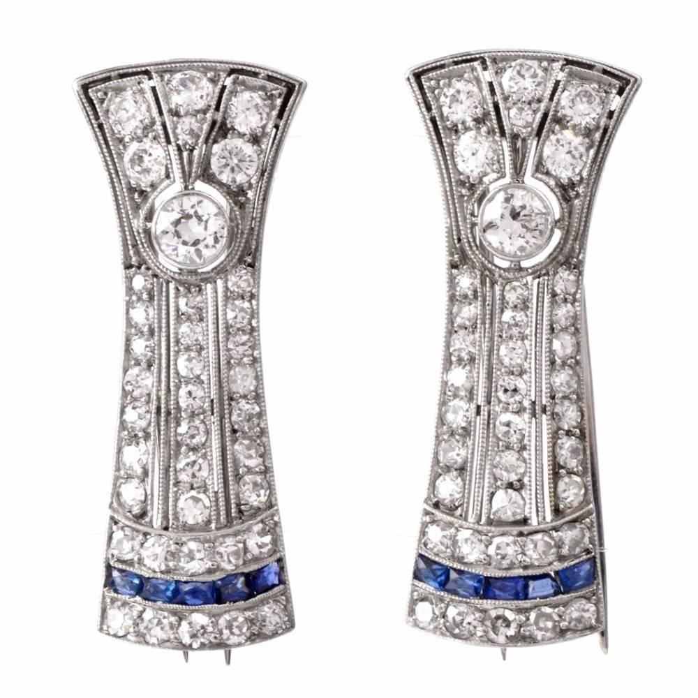 Antique Diamond Sapphire Platinum Double Clip Brooch Pins 1