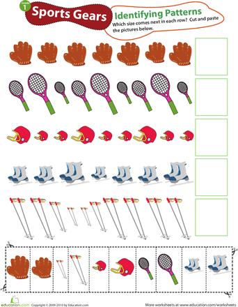Identifying Patterns Sports Gear Worksheet Education Com Math Patterns Activities Fun Math Worksheets Math Patterns