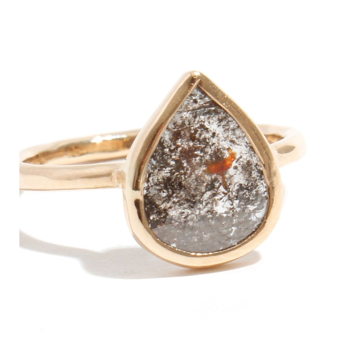 $1825.00 Gray with Red Inclusion Pear Shape Diamond Ring