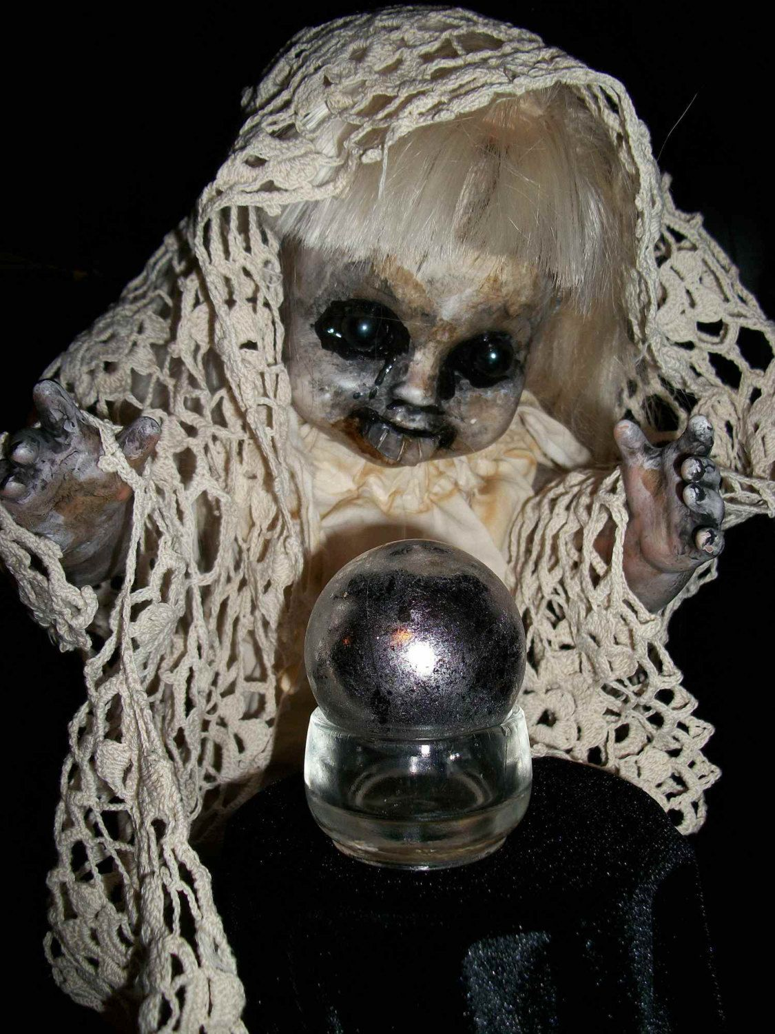 Creepy Altered Art Display Doll By Salvage Artist L
