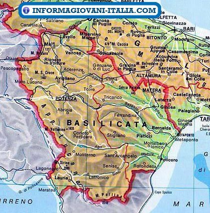 Cartina Calabria E Basilicata.Mappa Della Basilicata Cartina Della Basilicata Mappe