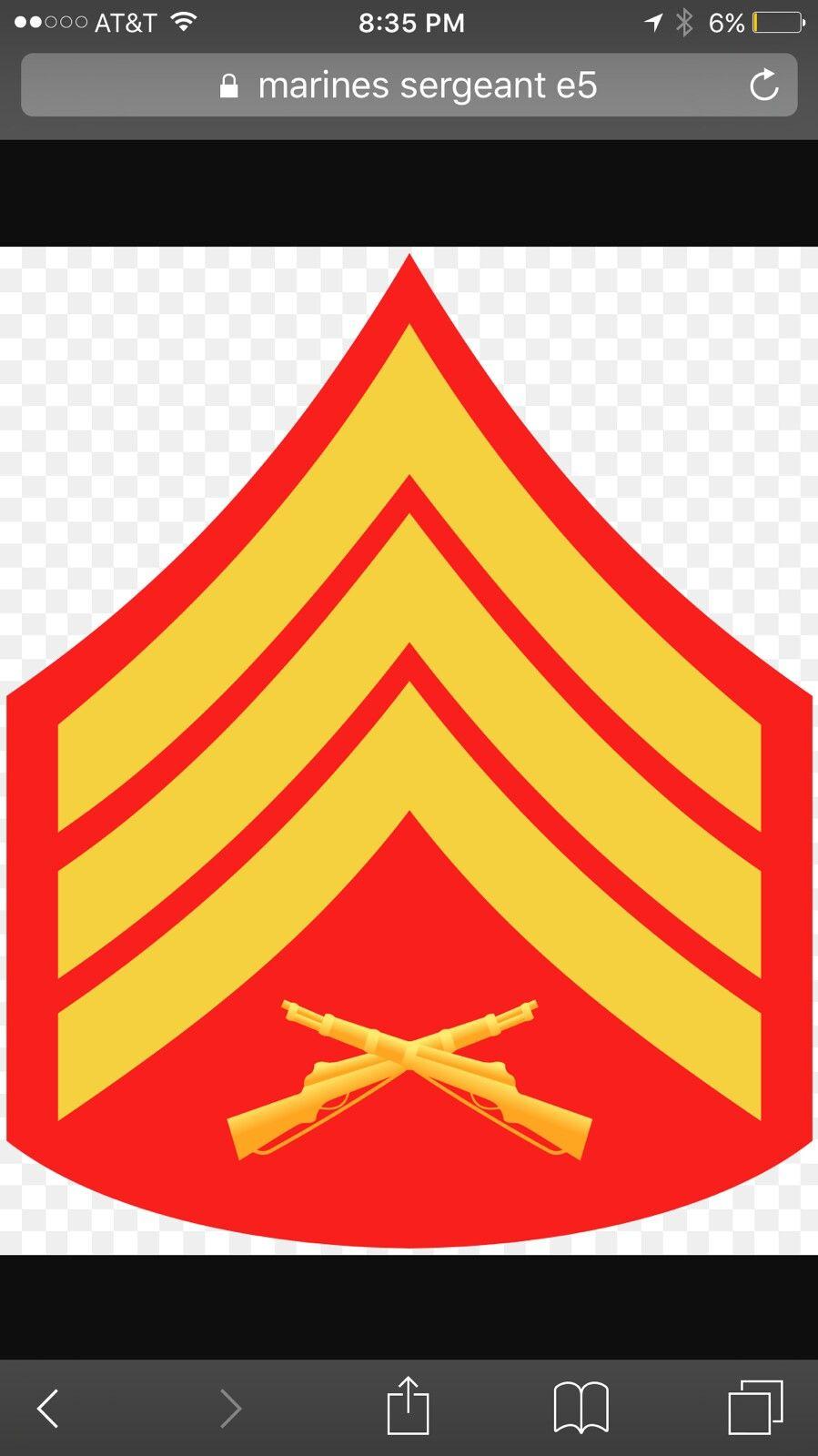 E-6 Staff Sergeant Insignia Sticker Decal Self Adhesive Vinyl usmc marine corps