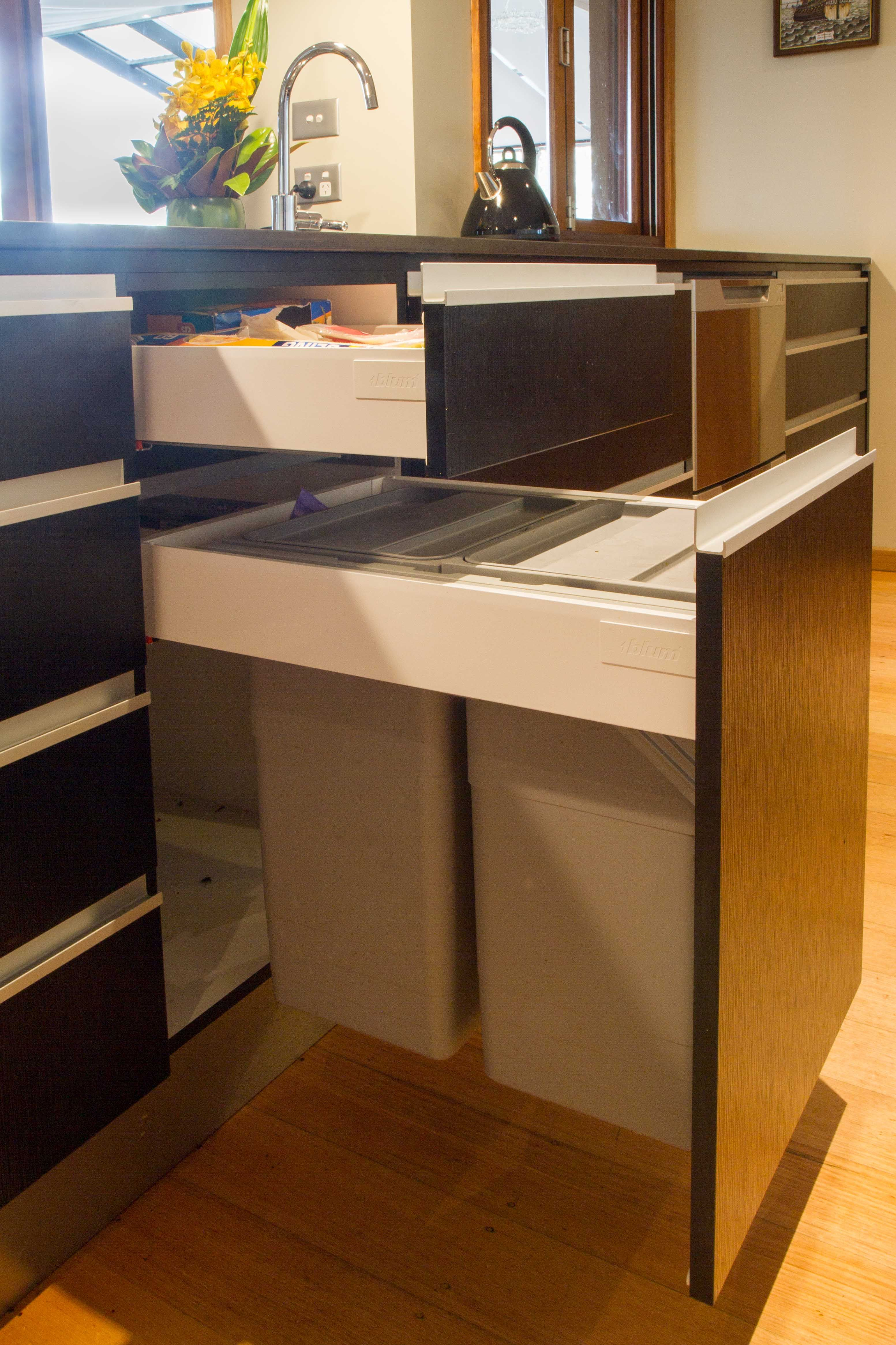 Bins built into drawers are almost genius! www