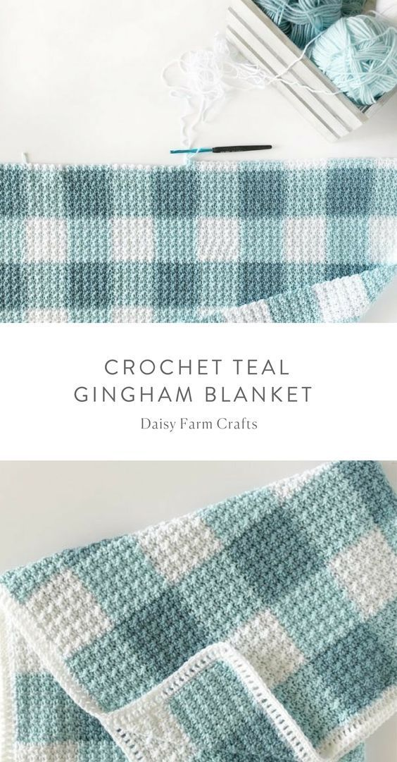 Free Pattern – Crochet Teal Gingham Blanket – Crochet Ideas