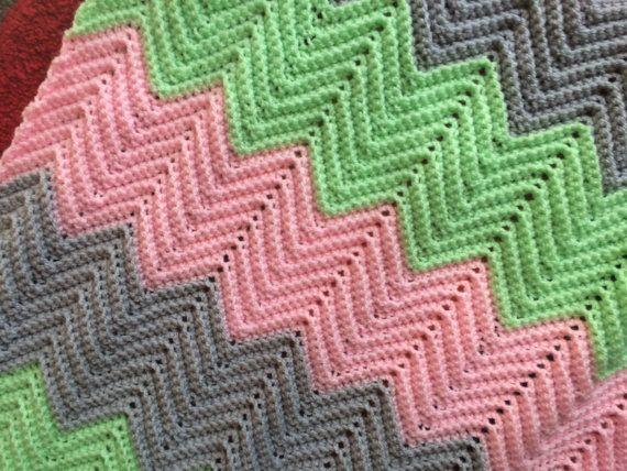 Crochet Chevron Baby Blanket By Percysprettythings On Etsy