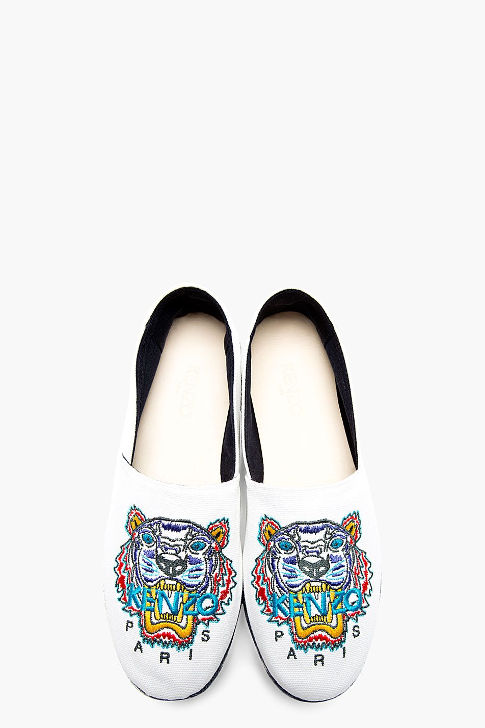 726eb768 KENZO White Canvas Embroidered Tiger SPOON Espadrilles | Men's shoes ...