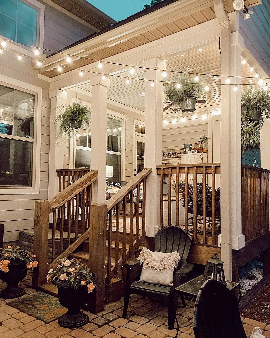 Farmhouse Charm On Instagram How Beautiful Is This Outdoor Patio It Looks Almost Magical Would You Love In 2020 Home Backyard Patio Designs Outdoor Living Backyard porch ideas for houses