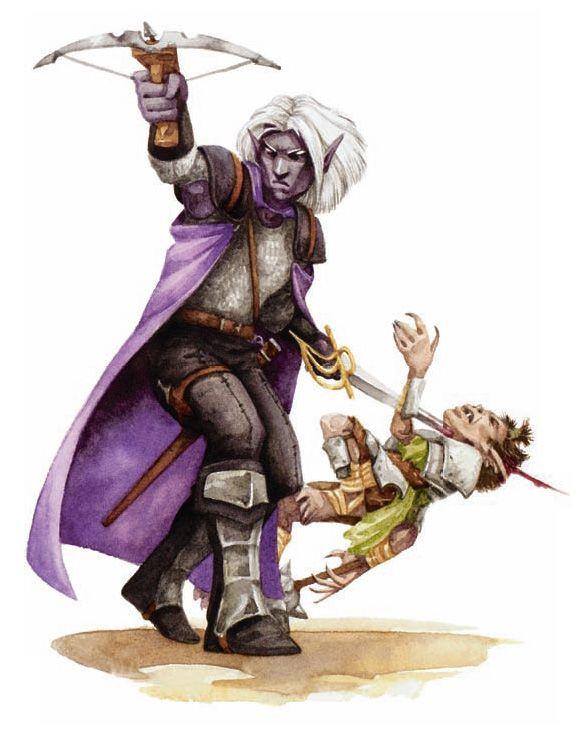 dark elf shadows Drow e uno sfortunato goblin - by Beth Trott Martial Power (2008-11) © Wizards of the Coast & Hasbro