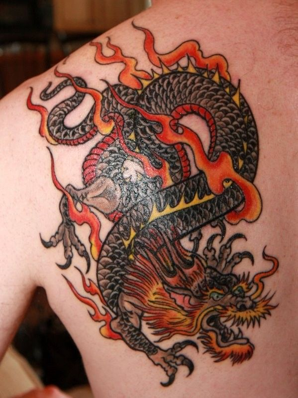 Red Dragon Tattoo On Shoulder Blade Dragon Tattoos For Men Dragon Tattoo Shoulder Red Dragon Tattoo