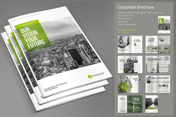 Corporate Brochure by Paulnomade on Creative Market design - landscape brochure