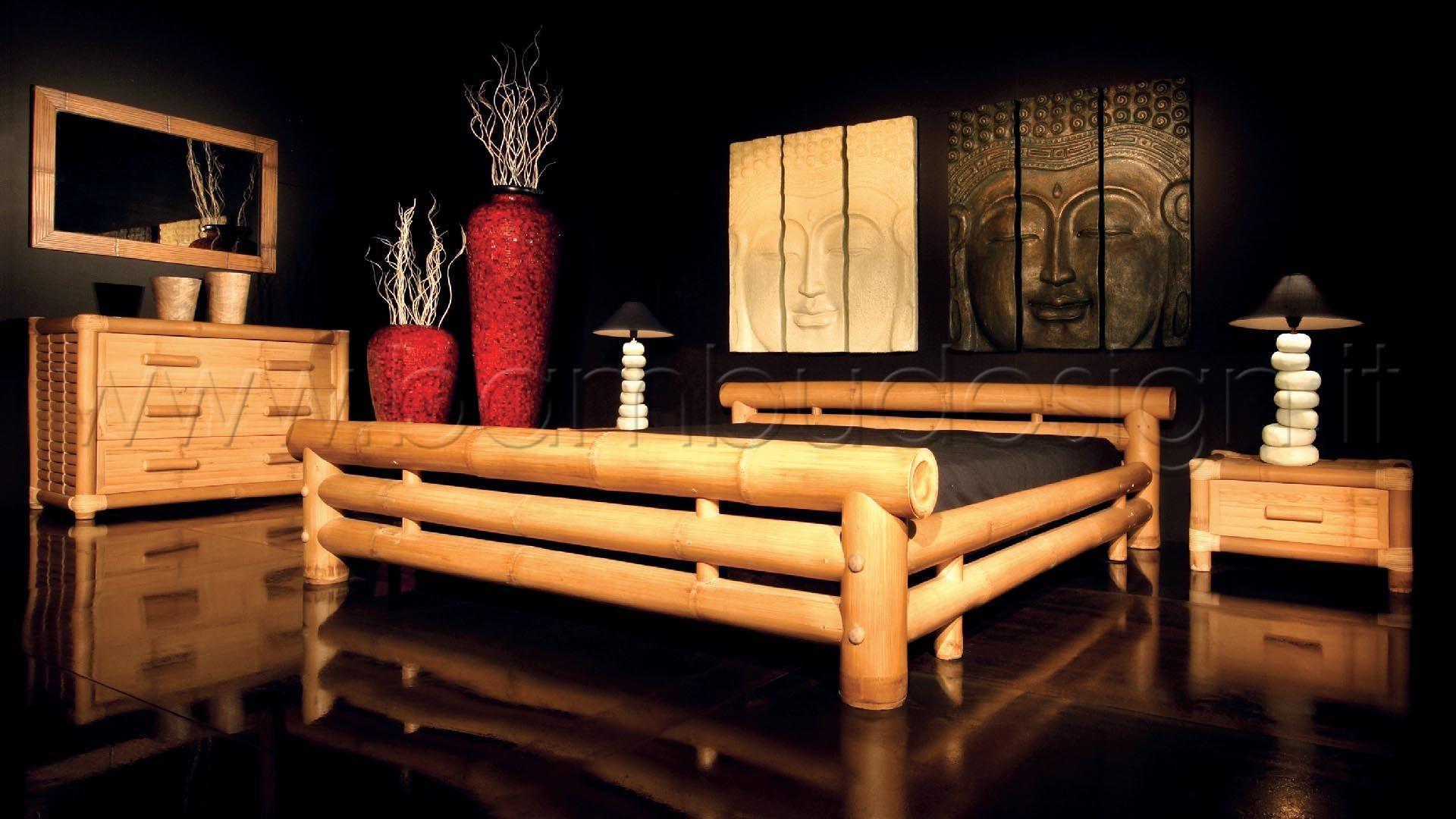 Letto big bambu naturale con rete ortopedica a doghe in