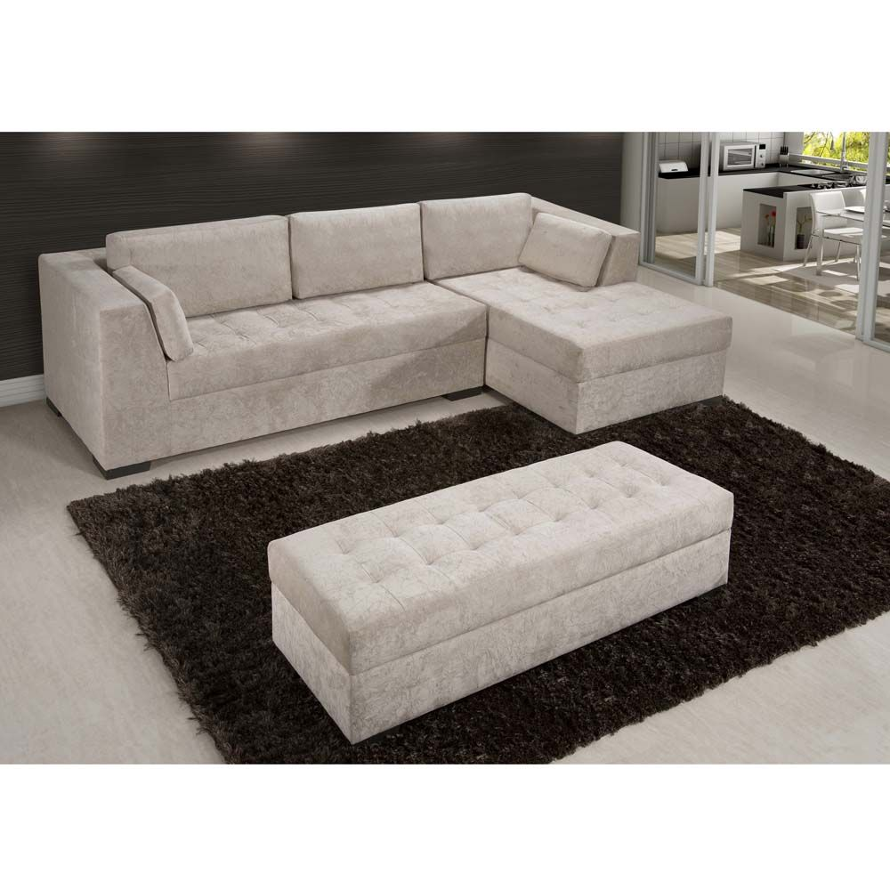 Sofá 3 Lugares American Comfort Pamplona com Chaise e Puff – Bege ...