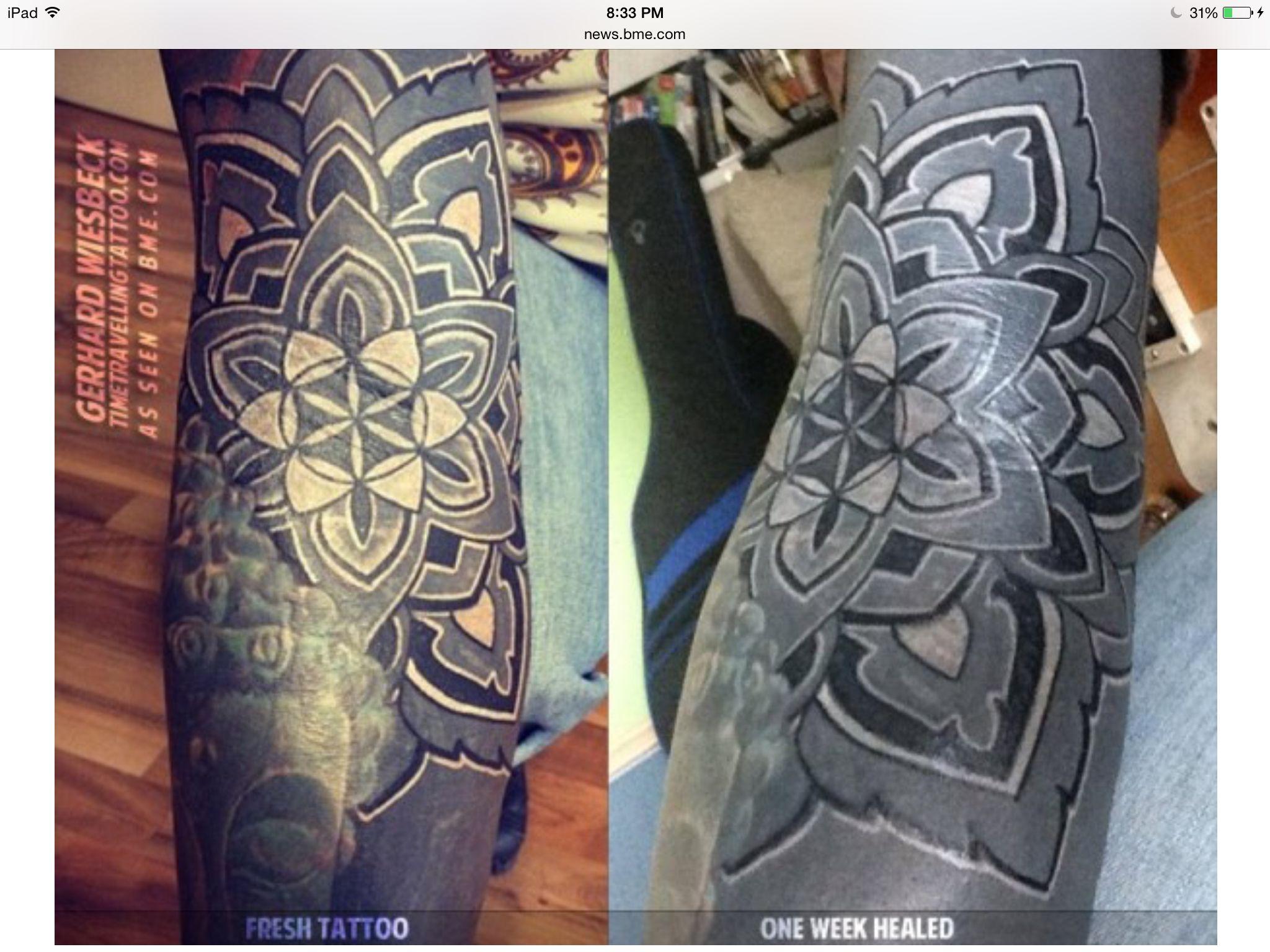 White Over Black Ink Gerhard Wiesbeck Timetravellingtattoo Com Black White Tattoos Tattoos Black Ink Tattoos