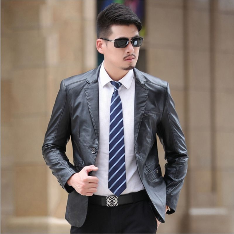 2017 Winter Sheep Skin Suit Leather Jacket Men Fashion Mens ...