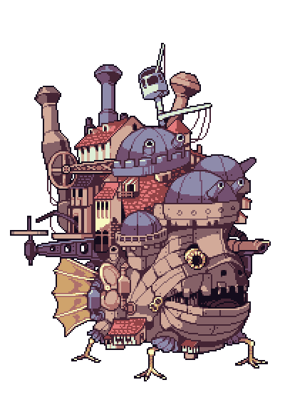 I Made Some Howl S Moving Castle Pixel Art X Post R Pixelart Ghibli Anime Pixel Art Art Pixel Art