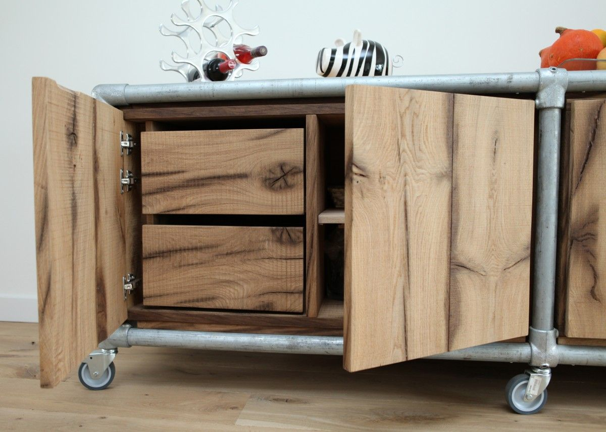 Old Oak Sideboard Or Combined With Galvanized Kee Klamp Fittings Pipe Furniture Pinterest