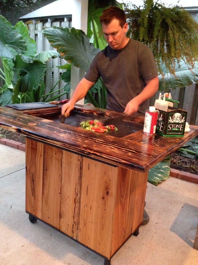 Backyard Hibachi Grill In Torched Cypress Hibachi Diy Outdoor Kitchen Backyard Backyard Fun