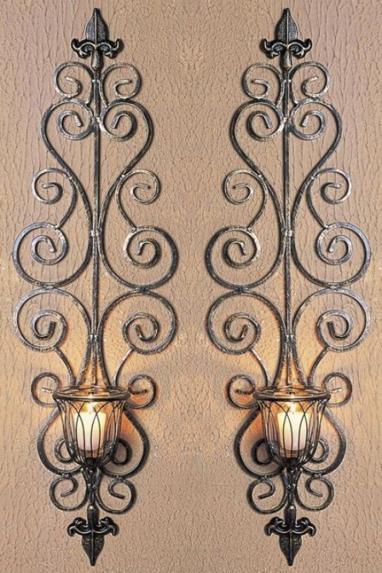 Pin By Wanhui Lin On Candle Candle Holders Iron Wall Candle Holders Wrought Iron Wall Decor Wall Candle Holders
