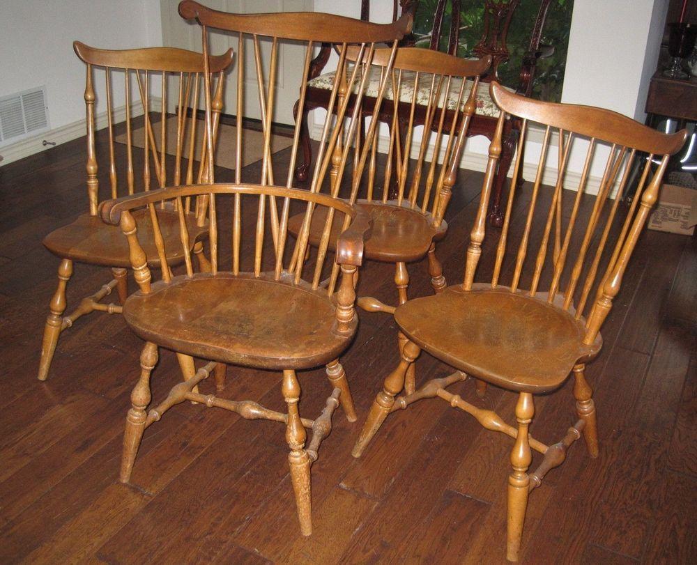 Vintage NICHOLS & STONE Windsor Dining Chairs Set of Four Old Pine Wood  Signed #Windsor - Vintage NICHOLS & STONE Windsor Dining Chairs Set Of Four Old Pine