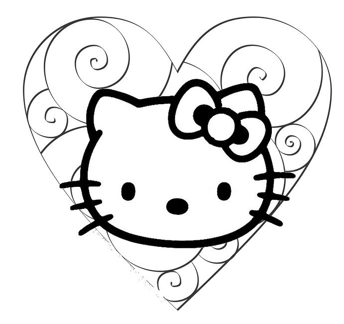 hello kitty love coloring pages Love Pinterest Hello kitty - new love heart coloring pages to print