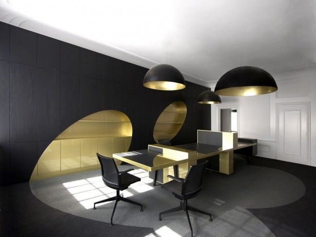 Black and gold interiors home offices studios librairies
