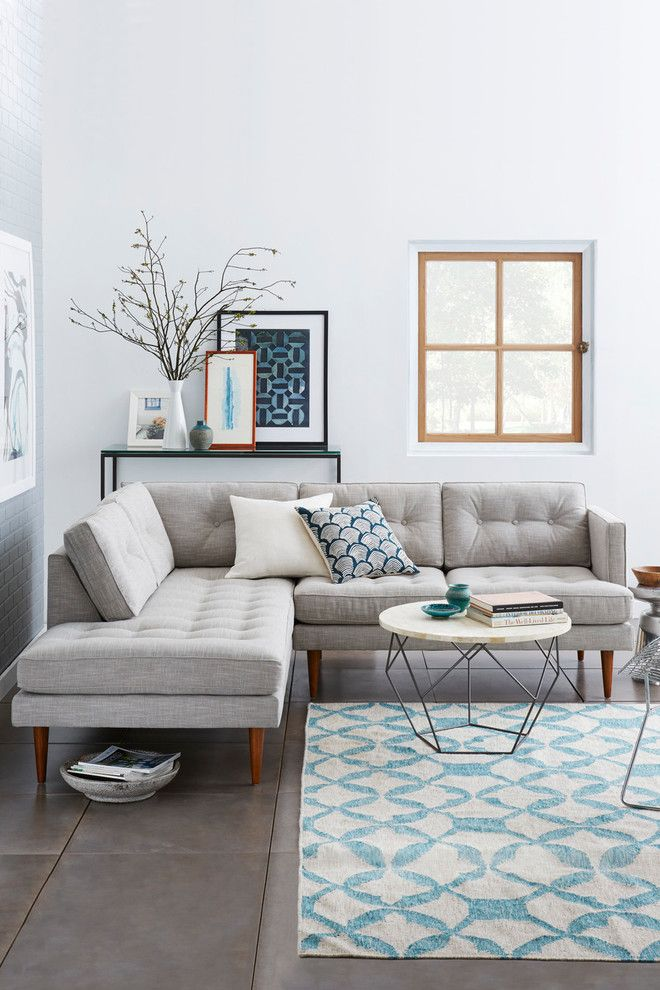 small family room with l shape modern sectional in grey white rh pinterest com