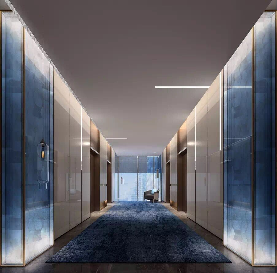 Minimalist floating ceiling with minimal slits of light for Minimalist hotel design