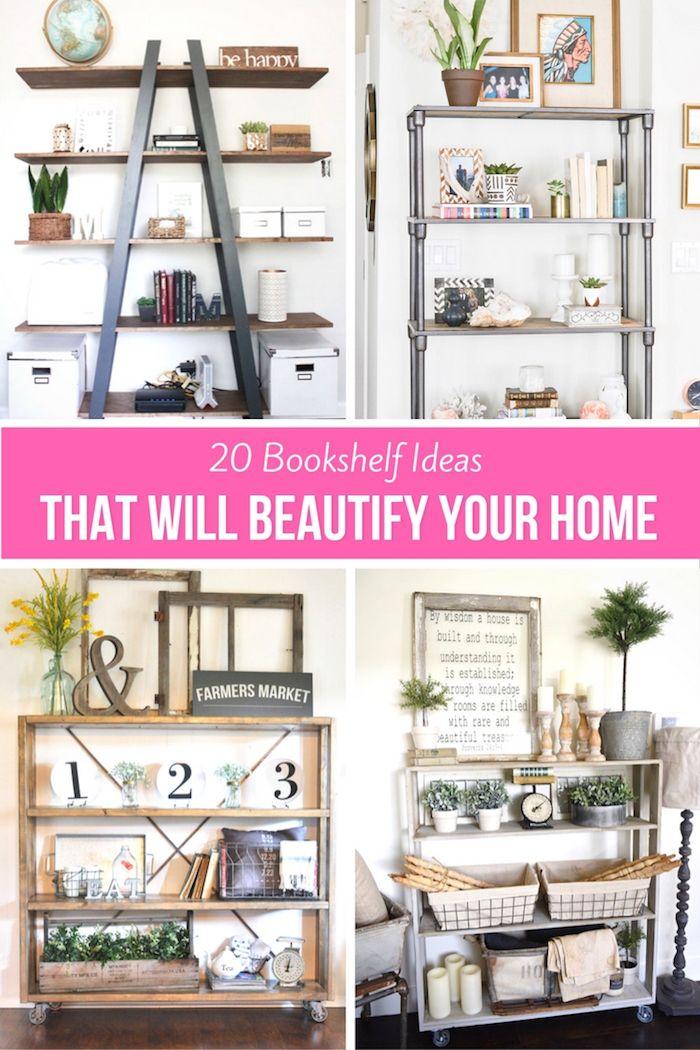 20 Bookshelf Ideas That Will Beautify Your Home Ikea Hacks Farmhouse Bookcase Diy Bookshelves Blogger DIY Projects
