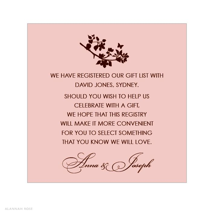 Bridal Shower Gift Registry Insert Wording