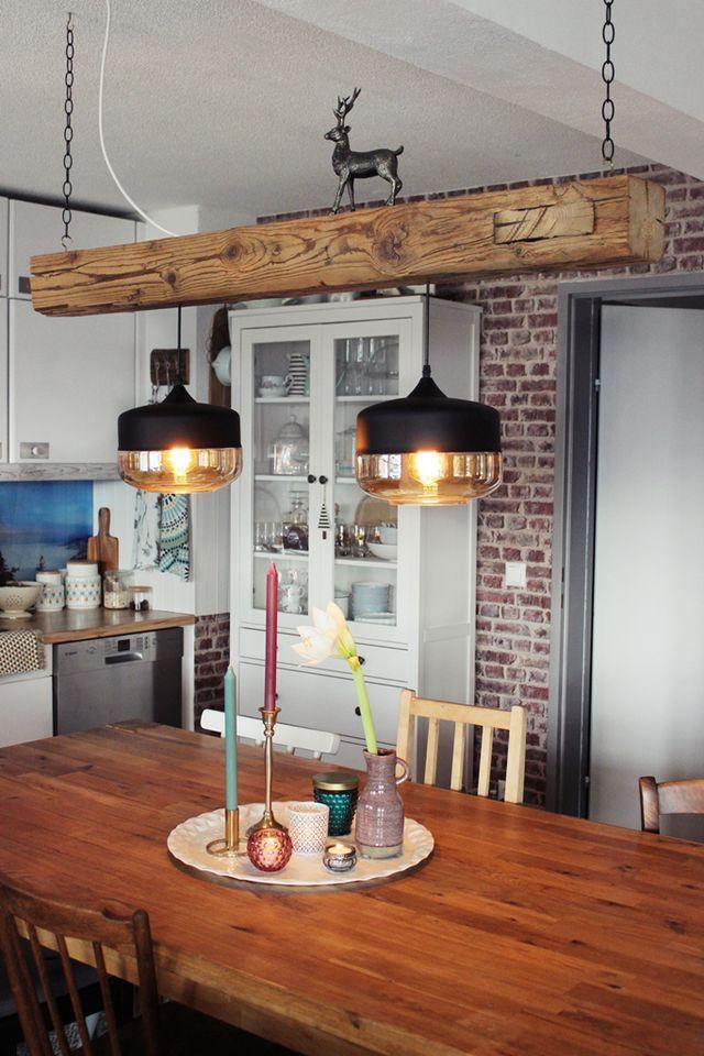 {DIY} Holzbalken Hängelampe im Industrial Look | s'Bastelkistle | Bloglovin' #industrialfarmhouselivingroom