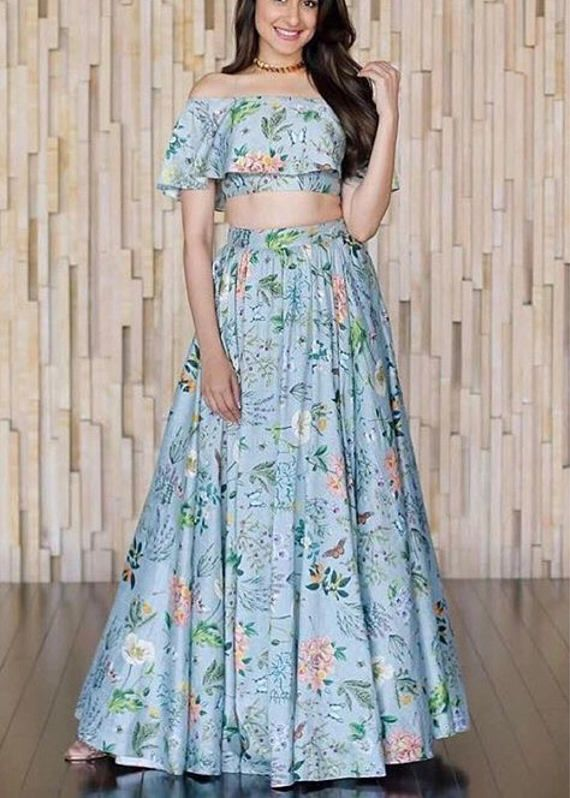 0d63f0afc9 Blue printed silk crop top and skirt | Products in 2019 | Skirts ...
