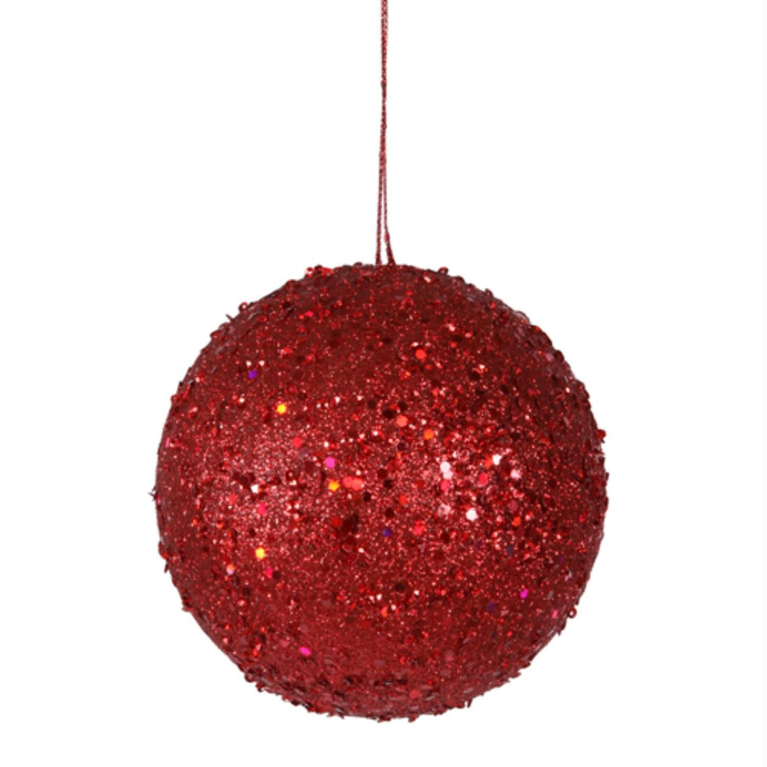 Fancy Red Hot Holographic Glitter Drenched Christmas Ball Ornament 475