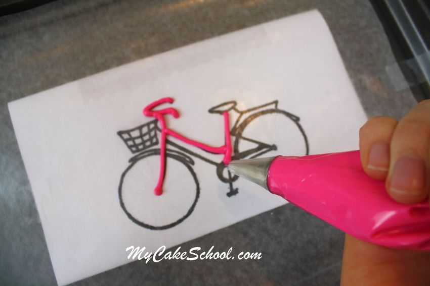 CUTE and easy free Bicycle and Balloons Cake Tutorial! #decoratingtips