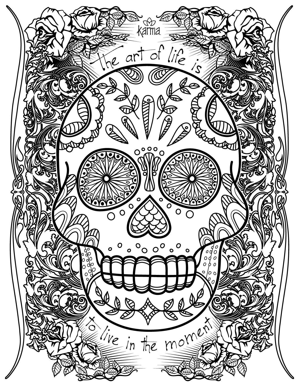 Sugar Skull! Free and printable coloring page by Karma ...