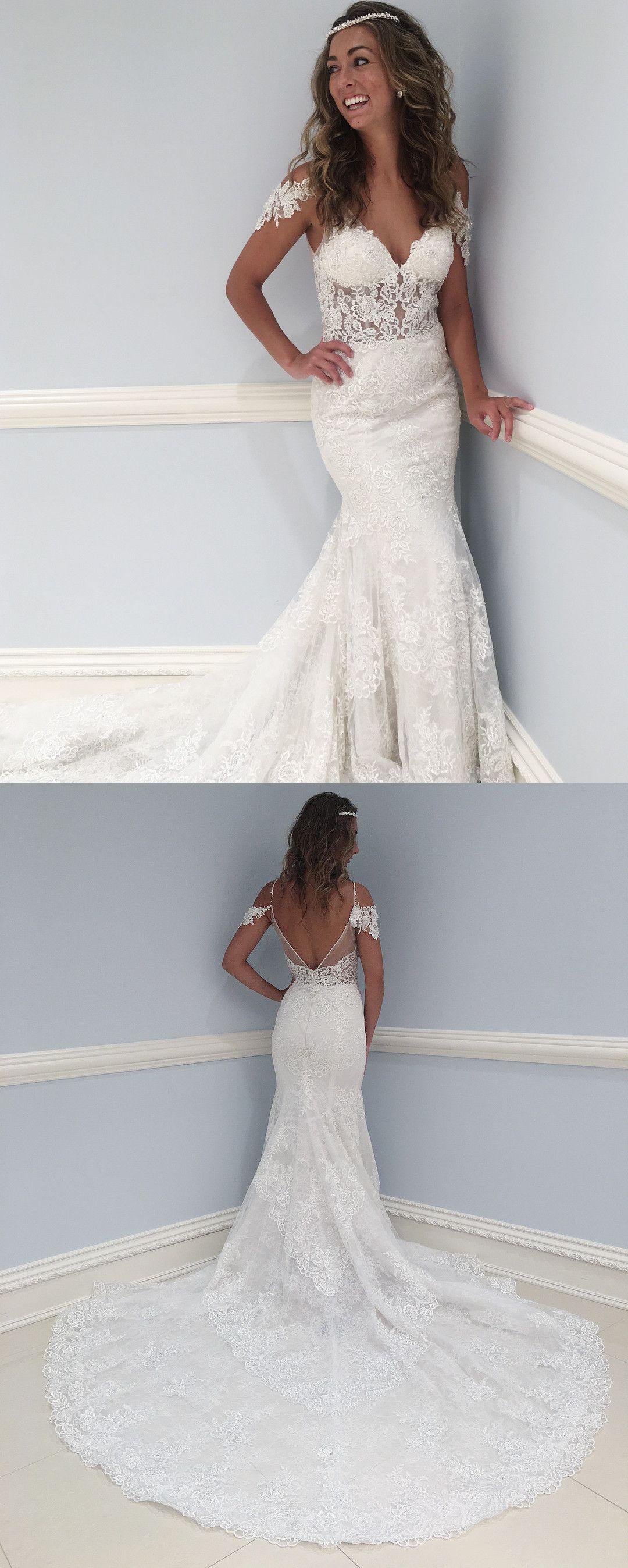 Fancy V Neck Lace Long Wedding Dress with Train | Long wedding ...