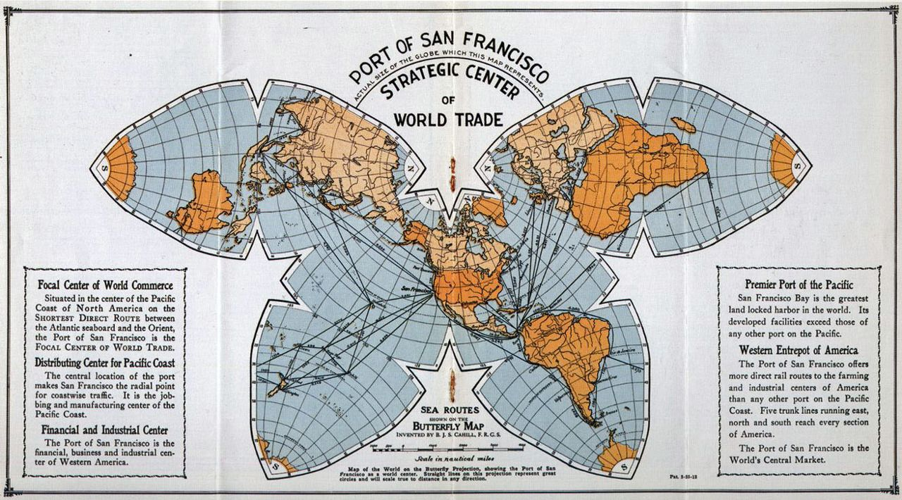 San Francisco at the center of the world in an octahedral butterfly