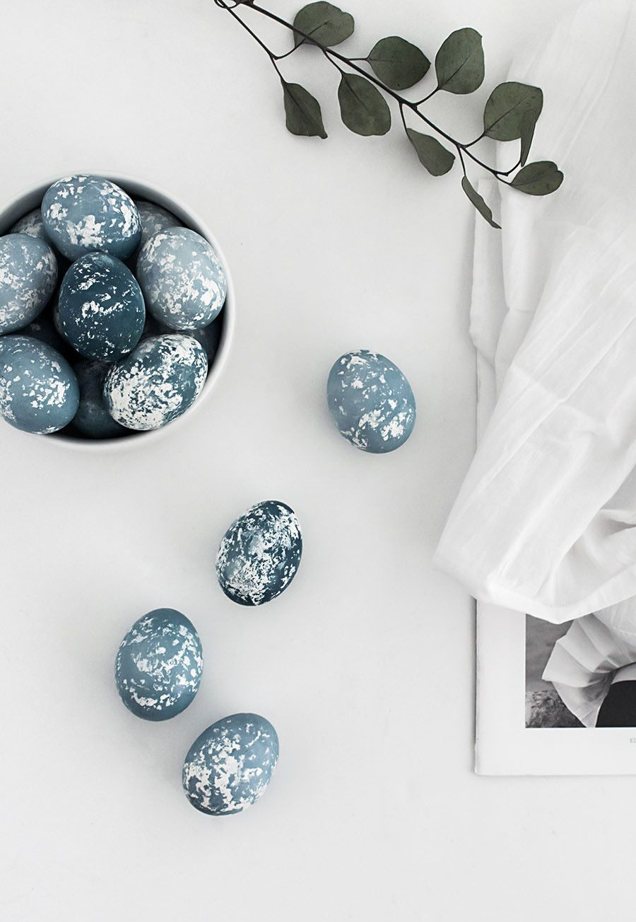 Modern easter eggs with natural blue dye from red cabbage.