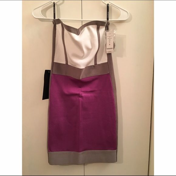 Bebe body tight dress Purple and white color block Bebe dress with grey accents bebe Dresses Mini