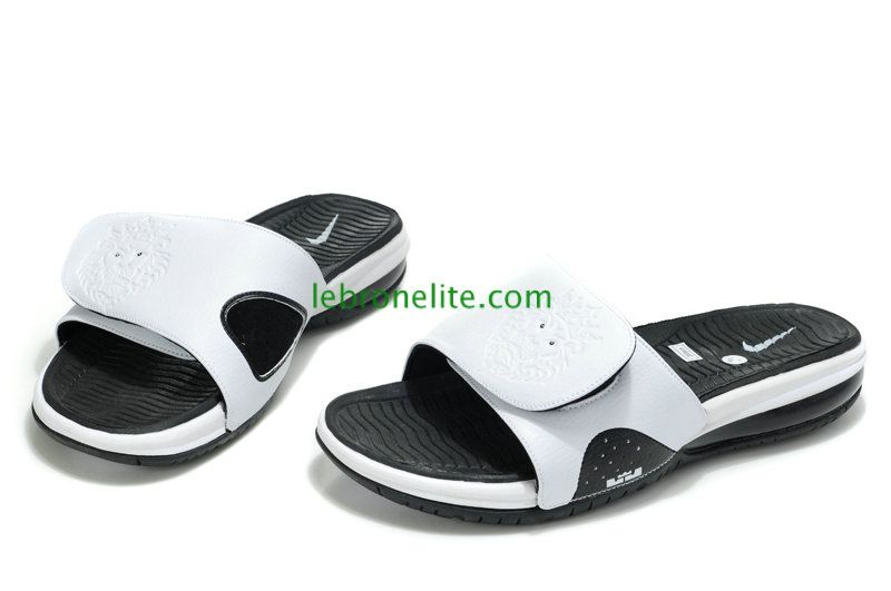 0f79c0ae11d4 Lebron Slides Air Max Sandals White Black White 487332 100