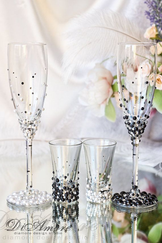 Bride And Groom Pearl Champagne Flutes And Shot Glasses